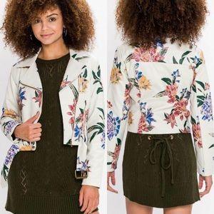 Ivory Floral Moto Jacket